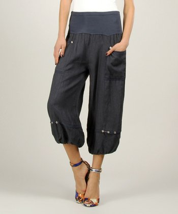 Navy Linen Ruched Pants