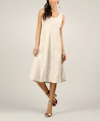 Beige Tapered Linen Shift Dress