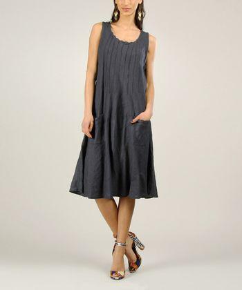 Navy Linen Midi Dress