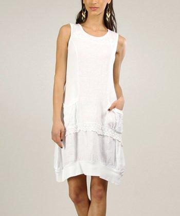 White Linen Sidetail Dress