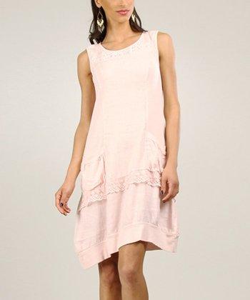 Beige Linen Shift Dress