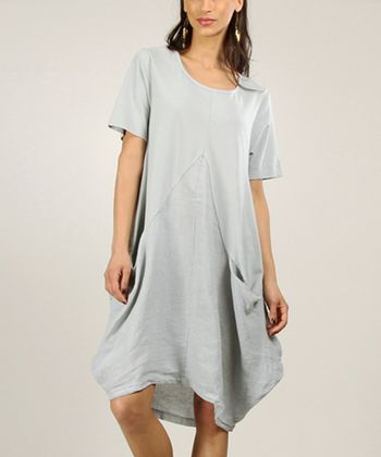 Grey Tapered Linen Shift Dress