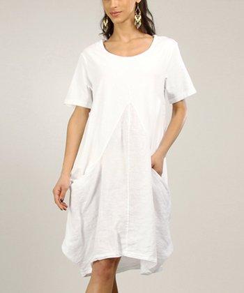 White Linen Sleeveless Dress