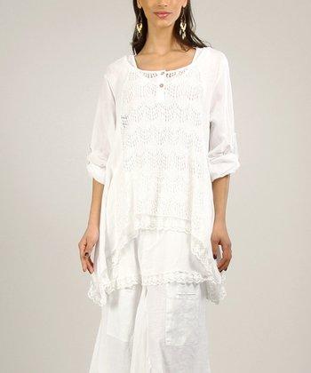 White Linen-Blend Tunic