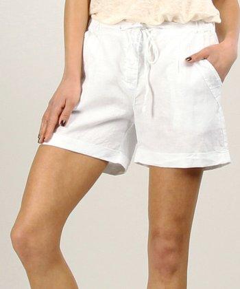 White Tapered Linen Shift Dress