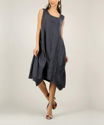 Navy Linen Handkerchief Dress