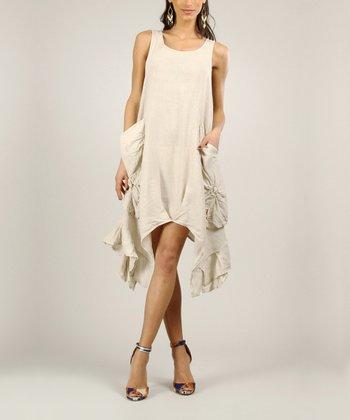 Beige Linen Midi Dress