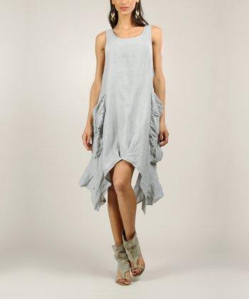 Grey Linen Sidetail Dress