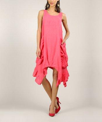 Fuchsia Linen Sidetail Dress