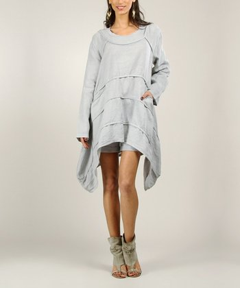 Grey Linen Sidetail Tunic
