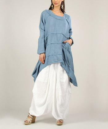 Blue Linen Sidetail Tunic