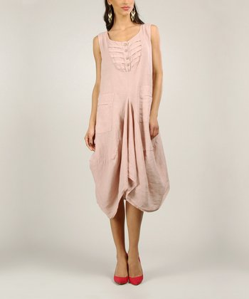 Light Pink Linen Sleeveless Dress