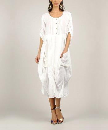 White Pleated Linen Midi Dress