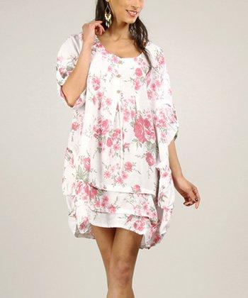 White & Pink Floral Linen Shift Dress