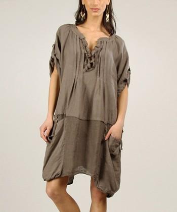 Mole Ruffle Linen Shift Dress