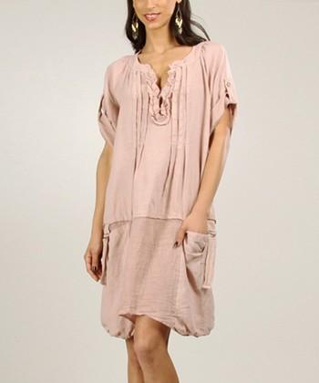 Light Pink Ruffle Linen Shift Dress