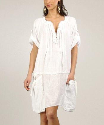 White Ruffle Linen Shift Dress