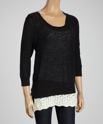 Joseph A Black & White Color Block Scoop Neck Sweater