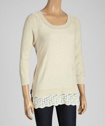 Joseph A Cappuccino & White Color Block Scoop Neck Sweater