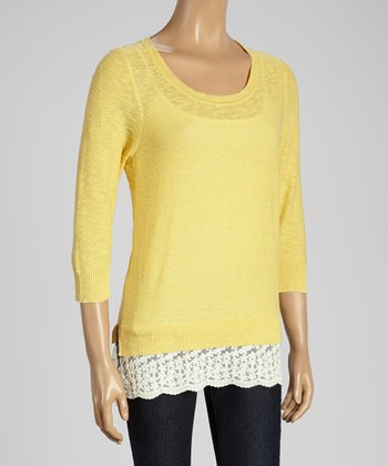 Joseph A Yellow & White Color Block Scoop Neck Sweater