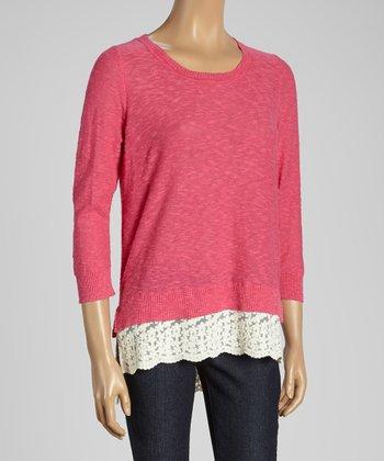 Joseph A Dahlia & White Color Block Scoop Neck Sweater