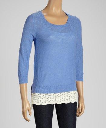 Joseph A Lavender & White Color Block Scoop Neck Sweater