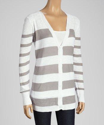 Joseph A Gray & White Stripe V-Neck Cardigan