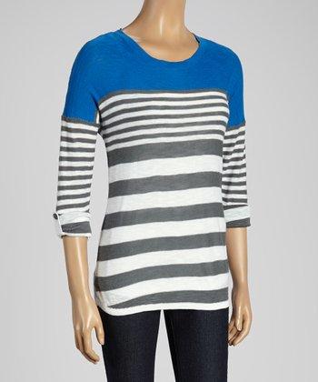 Joseph A Blue & White Stripe Scoop Neck Sweater