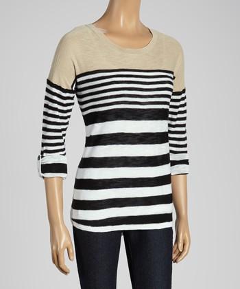Joseph A Khaki & Black Stripe Scoop Neck Sweater