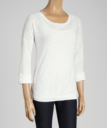 Joseph A White Roll-Tab Scoop Neck Sweater
