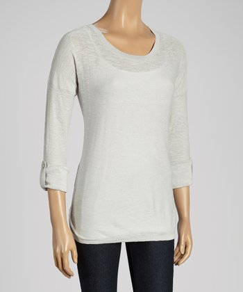 Joseph A Light Gray Roll-Tab Scoop Neck Sweater
