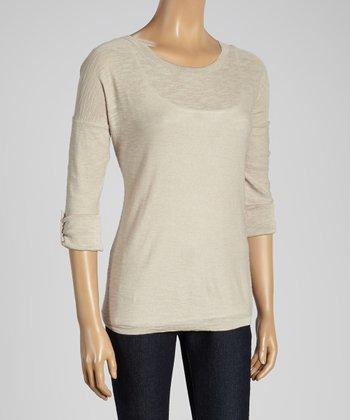 Joseph A New Khaki Roll-Tab Scoop Neck Sweater