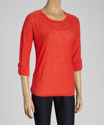 Joseph A Strawberry Roll-Tab Scoop Neck Sweater