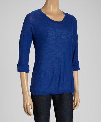 Joseph A Sky Blue Roll-Tab Scoop Neck Sweater