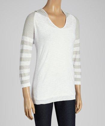 Joseph A White & Gray Stripe Hooded Top