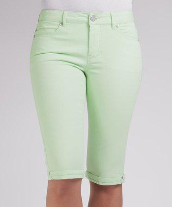 Liverpool Jeans Company Pastel Green Julia Short Capri Pants