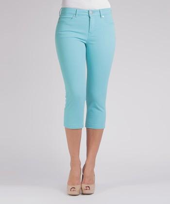 Liverpool Jeans Company Mosaic Turquoise Michelle Capri Pants