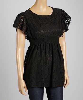 STYLE Black Lace Silk-Blend Empire-Waist Top