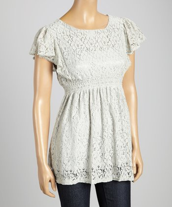 STYLE Gray Lace Silk-Blend Empire-Waist Top