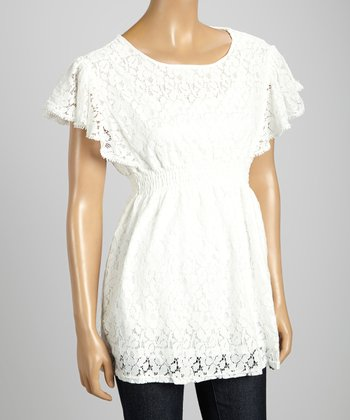 STYLE White Lace Silk-Blend Empire-Waist Top