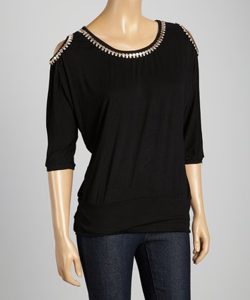 STYLE Black Cutout Shimmer Scoop Neck Top