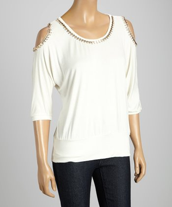 STYLE White Cutout Shimmer Scoop Neck Top
