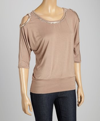 STYLE Taupe Cutout Shimmer Scoop Neck Top