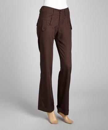 STYLE Brown Tab Skinny Pants