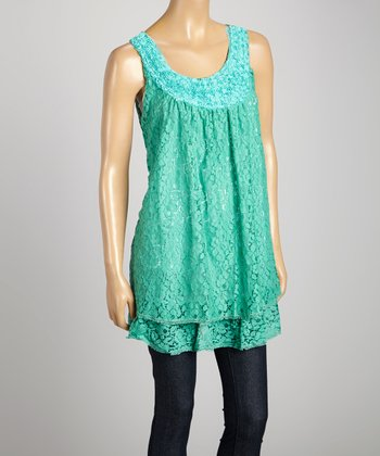 STYLE Turquoise Lace Scoop Neck Top