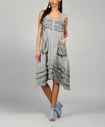 Gray Clara Linen Sidetail Dress