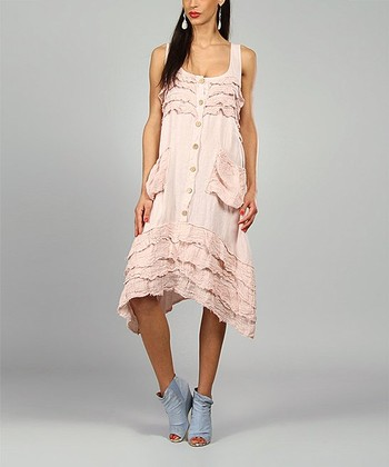 Pink Clara Linen Sidetail Dress