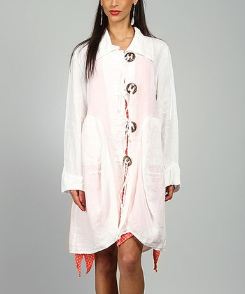 White Sharon Linen Coat