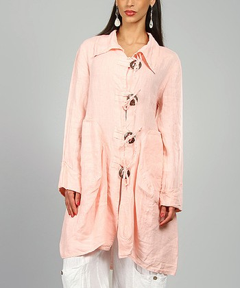 Pink Sharon Linen Coat