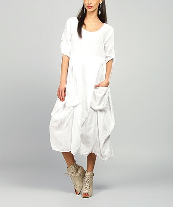 White Pamela Linen Scoop Neck Dress